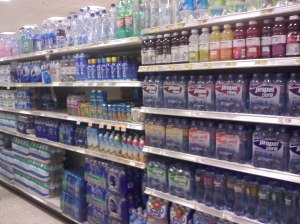 bottled water on a shelf