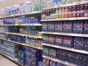 bottled water on a shelf