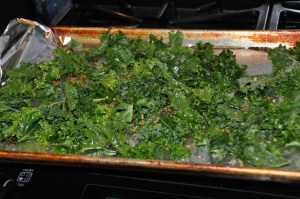 kale chips on a pan