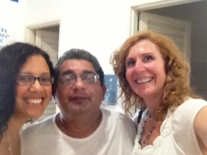 Mara, Arturo, and me.  He loves to play loud 80's disco music in the dining hall (but he gets scolded by his wife)