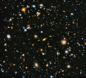 This Hubble telescope photo shows thousands of galaxies…yes galaxies in just one tiny corner of space. But this photo reflects how the galaxies appeared over 3.5 billion years ago because that's how far away in light years these gems are. So what you're looking at could be totally gone in what you perceive as YOUR reality of now. Mind blown.